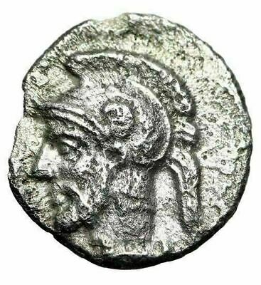 "Cilicia, Tarsos (Tarsus) AR Obol ""Facing Arethusa & Helmeted Warrior Ares"" aEF"