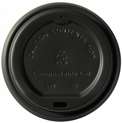 200 x 8oz BLACK CPLA Lids For Mixed Design Bamboo Biodegradable Compostable Cups