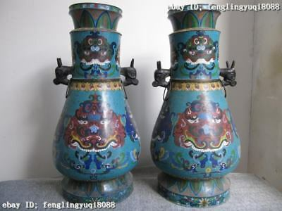 "26""Huge royal Copper Cloisonne Enamel both EARS beast Zun Vase Pair"