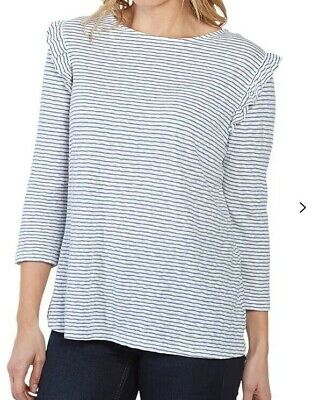 136 NEW  RRP £45 Fat Face Sadie 3//4 Sleeve Wrap Top Surf Blue//Charcoal