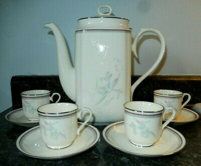 Noritake Contemporary Grown Free Coffee Pot & 4 Demitasse Cup & Saucer Sets~EXC!