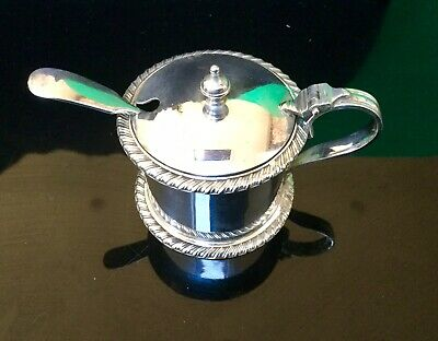 Antique Silver Plated Mustard Pot With Unrelated Spoon Cobalt Glass Liner