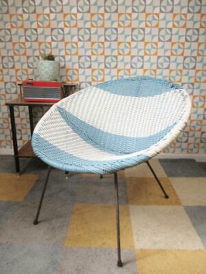 Vintage 1960's Blue & White Satellite Chair Mid-Century Atomic Sputnik Retro