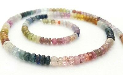 """Multi Sapphire Faceted Rondelle Beads 16""""Inch ,Multi Precious Necklace 3-4Mm"""