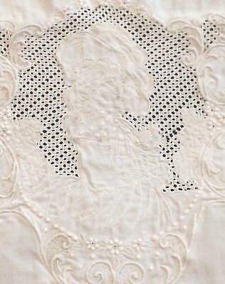 Appenzell Linen Tea Towel Cameo Lady White Work Needle Lace Embroidery Antique
