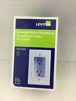 Leviton 689-W 15 Amp 1-Gang Recessed Duplex Receptacle Residential Grade NEW