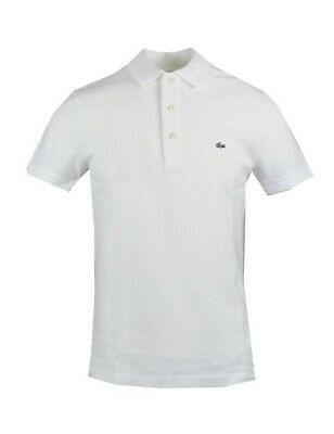 LACOSTE polo uomo slim fit bianca manica corta stretch ph4014