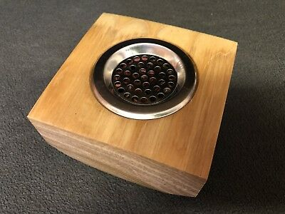 Wood Turned Pot Pourri Bowl With Metal Holed Lid For Fragrance Release.
