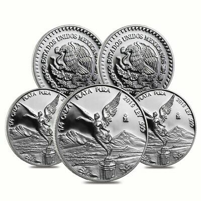 Lot of 5 - 2019 1/4 oz Mexican Silver Libertad Coin .999 Fine Proof (In Cap)