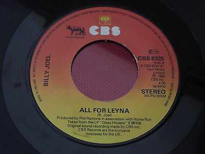 Billy Joel : All For Leyna - Close To The Borderline : CBS Reords : S CBS 8325