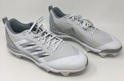 613913e40528 Adidas Mens Cleats Power Alley 5 Baseball Style B39190 White Gray US Size 11