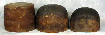 Antique Lot Of 3--Hat Molds-Wooden-Industrial-Millinery-Forms