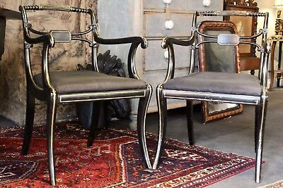 Pair Of Antique Regency Gilt And Ebonised Parcel Armchairs With Upholstered Seat