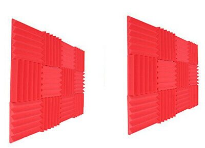 """Acoustic Foam Panel Tiles Wall Record Studio Sound Proof 24 pcs 12""""x12""""x2"""" Red"""