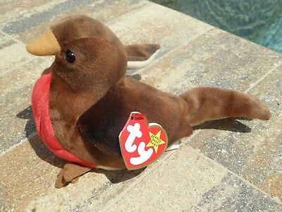 ebb9aaf7b61 Beanie Babies Baby Ty Early Bird Robin Red Brown 1997 Retired Collectible