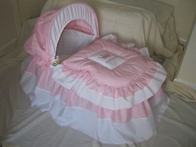 'princess'  Pink And White Moses Basket Cover Set By Babyfanzone