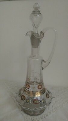 Victorian Signed Hand Enameled/Gilded Glass  Wine Decanter....inches