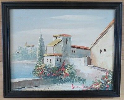 Vintage Greece Landscape Signed Framed Original Oil Painting Wood Art antique