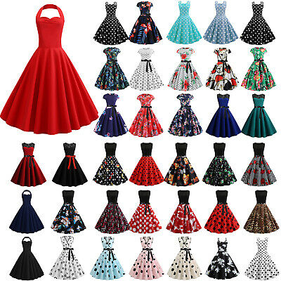 Womens Vintage Rockabilly Swing Skater Dress Evening Party Cocktail Bridal Gowns
