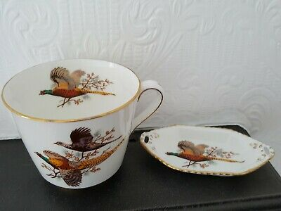 Vintage Bone China Hammersley &Co Porcelain Tea Cup& Small Tray Pheasant pattern