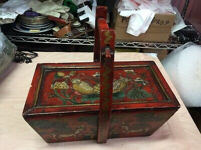 Antique Chinese Shanxi / Rice Wooden Box Lid covered Asian Oriental hand painted