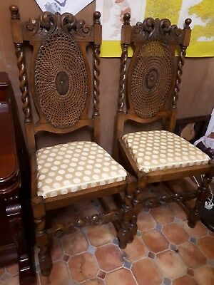 Ornate Antique Pair Of Victorian hall Chairs