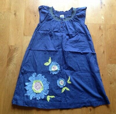 Mini Boden Girls Navy Cotton Sundress With Appliqué Flowers Age 7-8 WORN ONCE!