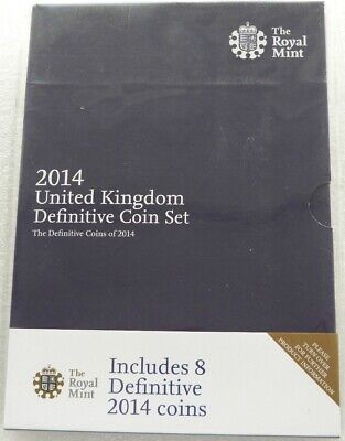 2014 Royal Mint Definitive Brilliant Uncirculated 8 Coin Set Pack Sealed