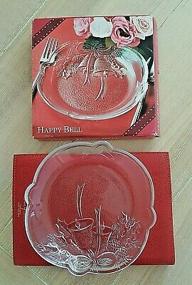 Soga Japanese Happy Bell Clear Glass Christmas Pattern Plate. New in Origina box