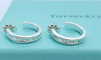 75be46dbb TIFFANY & CO. Sterling 925 Silver 1837 Small Hoop Earrings 17mm ...