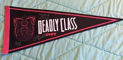 Deadly Class Syfy Signed Pennant Benjamin Wadsworth, Luke Tennie Michel Duval