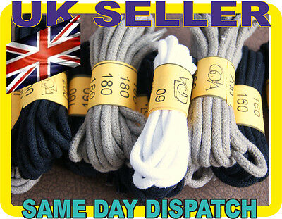 NATURAL COTTON VERY STRONG ROUND SHOE BOOT LACES SHOELACES - 3mm - 4 COLORS -