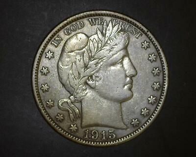 1915-D Barber Half-Dollar Old Cleaned  Extremely Fine  ~331717-Ba11Rae11Q