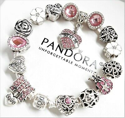 Authentic Pandora Silver Charm Bracelet MOM FAMILY Love Heart European Beads.NIB