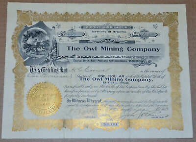 The Owl Mining Company 1903 antique stock certificate