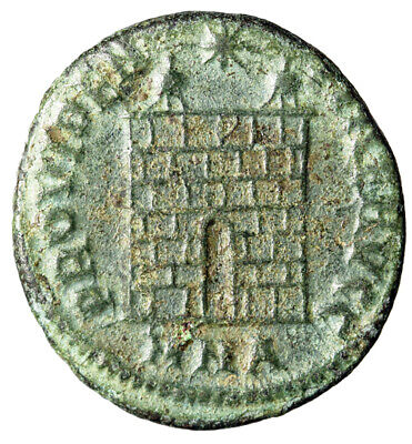 """ARCHITECTURAL Constantine I The Great Roman Coin """"Campgate City Gate"""" CERTIFIED"""