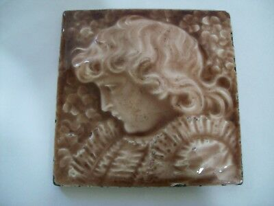 "Antique Providential Tile Works ""Young Girl with a Lace Blouse"" Tile Design C27"