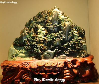 100% Real Natural Dushan Green Jade People Old Man Mountain Tree Pavilion Shanzi