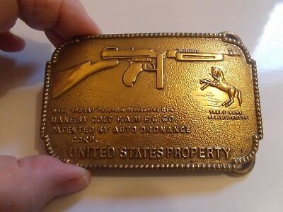 Finest Minted Brass  Colt Submachine Gun Mens Belt Buckle -Rare