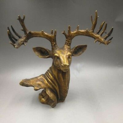 12'' brass copper carved auspicious beast animal  sika deer head statue