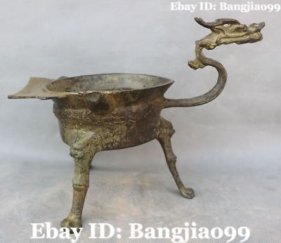 "12"" Old Chinese Bronze Ancient Dragon Lion Beast Incense Burner Censer Statue"