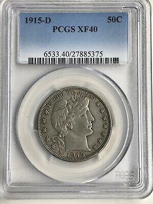 1915-D Pcgs Barber Half Dollar Xf40 Nice With No Distracting Marks Or Scratches