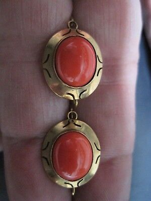 ANTIQUE 14k gold pierced Coral Drop earrings etruscan revival - victorian