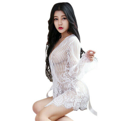 1 Set Women Sexy Transparent Lace Lingerie Robe & Strap Nightgown With G-String