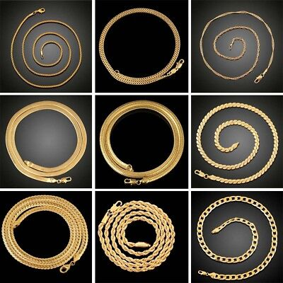 Women Men 18K Gold Plated Hiphop Link Chain Choker Necklace Jewelry 20-24inch