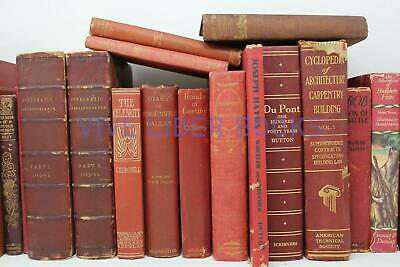 Lot 5 RED / Shades of RED Old Vintage Antique Rare Hardcover Random
