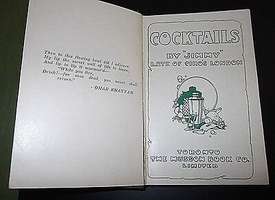 Cocktails by Jimmy Late of Ciro's London Printed in Toronto Canada 1930 Rare