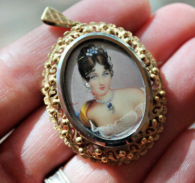 Vtg 14K Yellow/White Gold Hand Painted Portrait Cameo Pendant Brooch Signed HIL