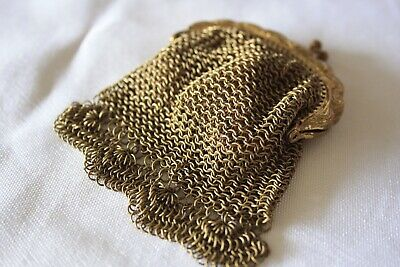 Vintage Glomesh Style Gold Chainmail Mini Coin Purse
