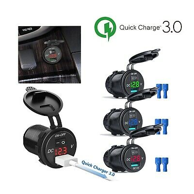 Quick Charge USB 3.0 Car Charger Socket Volt Digital DIsplay with Switch/2 USB